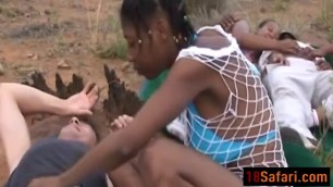 Wild outdoor interracial group sex with hot African sluts and big cocked studs!