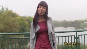 Ebony beauty Emelie bangs for cash outdoor