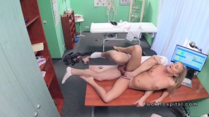 Hot blonde Ilona with smoking problem bangs doctor