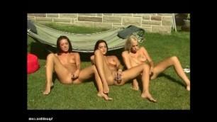 Beautiful Kelly Summer in a hot lesbian threesome outside