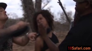 African slut with big natural tits getting spanked and tormented by two guys