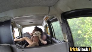 Rough interracial deepthroat and fucking inside the cab with hot Ebony