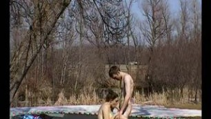 Hot Czech amateur fucks on the bench outdoor in public park