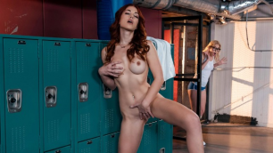 Chloe Cherry And Molly Stewart Licking Each Other In The Locker Room