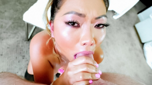 Evil Angel - Buxom Asian MILF Lana Croft's Deepthroat BJ