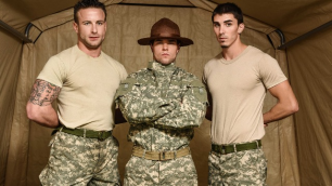 Men - Drill The Sergeant's Ass And Mouth Aspen , Damien Kyle , Tanner Tatum