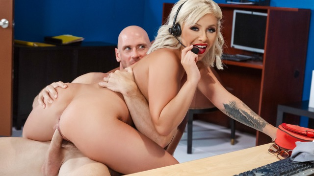 Madelyn Monroe Deepthroats Her Boss's Dick In Call Centre Cock