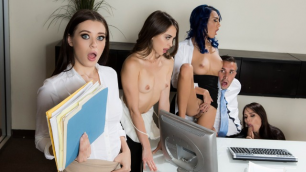 Office 4-Play With Aidra Fox, Janice Griffith And Other Pornstars: Intern Edition