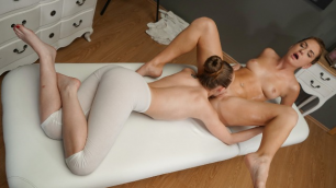 MassageRooms - Petite Eastern European Nymphs Lady Bug And Mila Fox In Massage Room