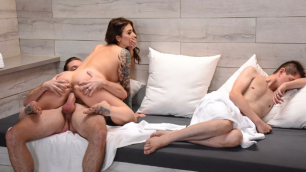 Brazzers - Wife Ivy Lebelle Cheated While Husband Sleep In  Secret Sauna Sex