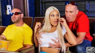 Sneaky Man Fucks Blonde Bridgette B At The Movies