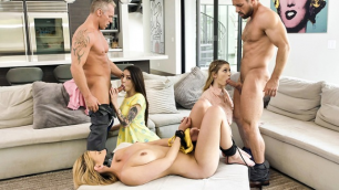 DaughterSwap - Beautiful Teen Babes In Foursome With Daddies