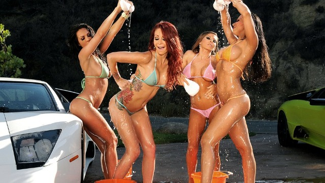 Carwash Day! Bubble Butts And Sudsy Whores Kirsten Price, Madison Ivy And Other Pornstars