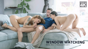 Babes - Billie Star And Rebecca Volpetti Seduced The Gardener For Their Pleasures In Window Watching