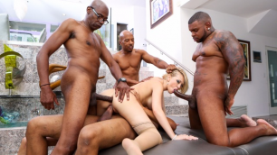 Devils Film - Blonde Kagney Lynn Karter On White Stocking Fucks With Four BBC In Blacked Out