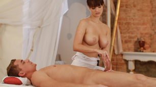 Massagerooms - Horny Masseuse Gets Her Pussy Filled With A Big Dick Rita Peach All In Oil