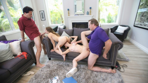 DaughterSwap - Horny Teen Girls Swap Spit With Hot Dad Cocks