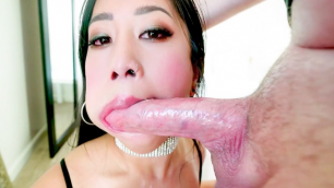 POV-Blowjob Spit Cum In Asian Jade Kush's Cleavage